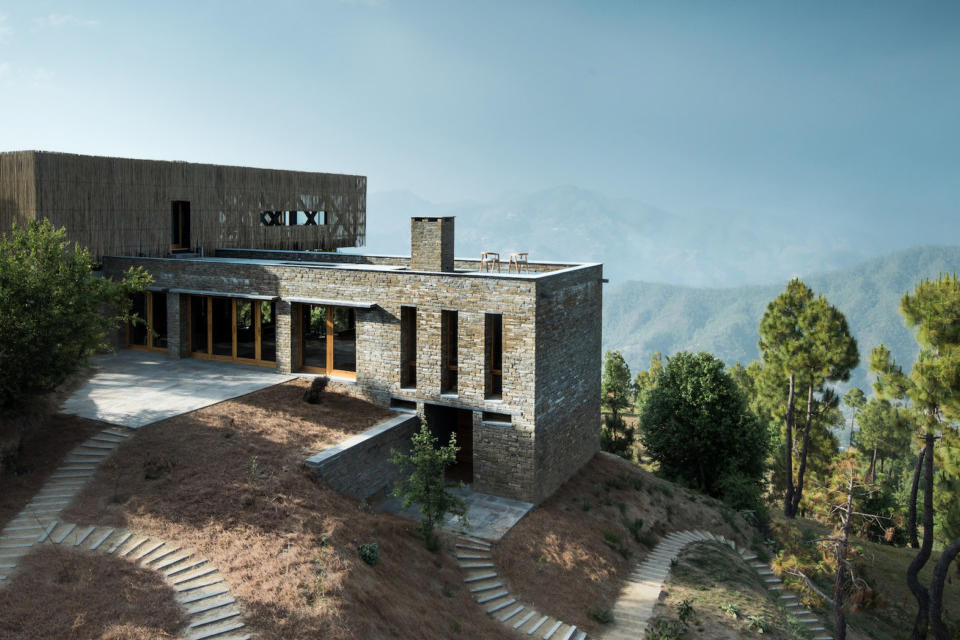 Kumaon Hotel India Brick Building Gardens Balconies Mountainous Landscape Trees Sleek Modern Interior Exterior Zowa Architects Design Studio