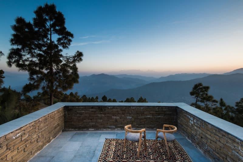 Kumaon Hotel India Brick Building Gardens Balconies Mountainous Landscape Trees Sleek Modern Interior Exterior Zowa Architects Design Studio
