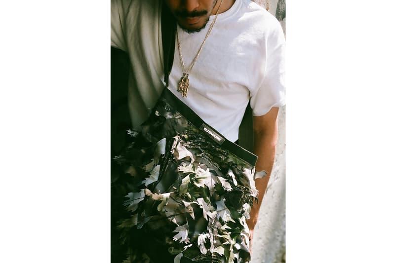 ULTRAOLIVE® Camo 3D Leaf Fabric ULTRA_Experiments track pants shoulder bag release info