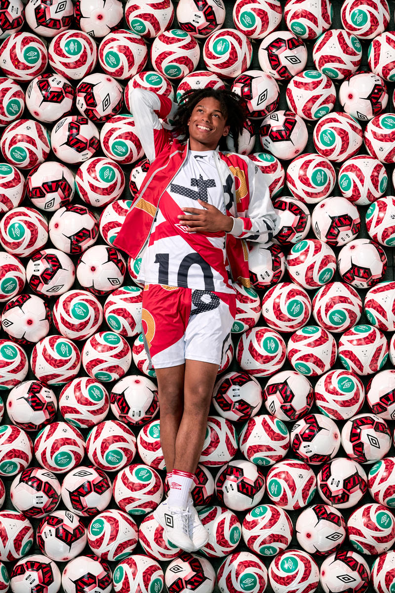 Umbro Christopher Raeburn Spring Summer 2018 Collection Lookbook Collaboration SS18 soccer football uniform jersey remade reduced recycled english deconstruct kit may 31
