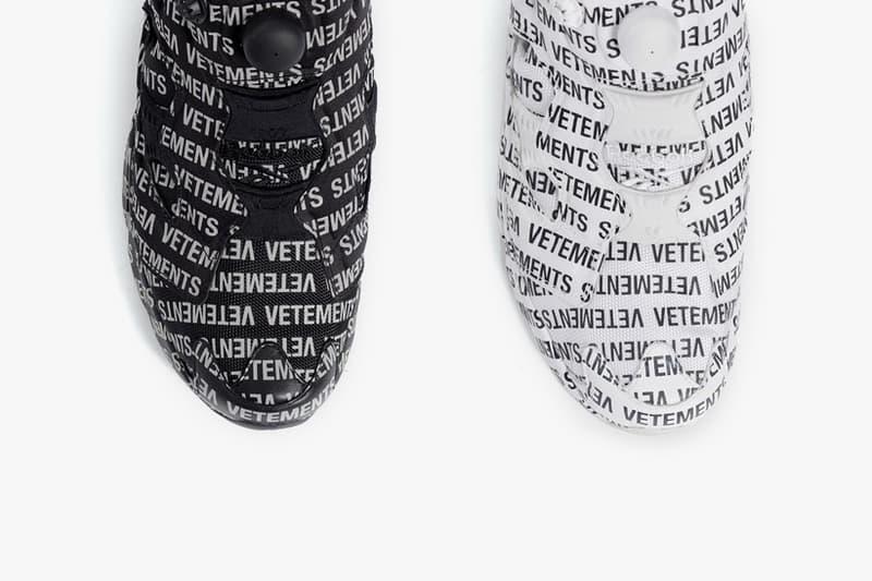 Vetements Reebok InstaPump Fury Monogram pack First Look Black White release date price purchase