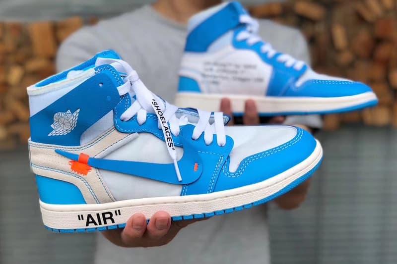 Virgil Abloh Air Jordan 1 UNC Detailed Look Brand Nike Off White University of north Carolina michael jordan