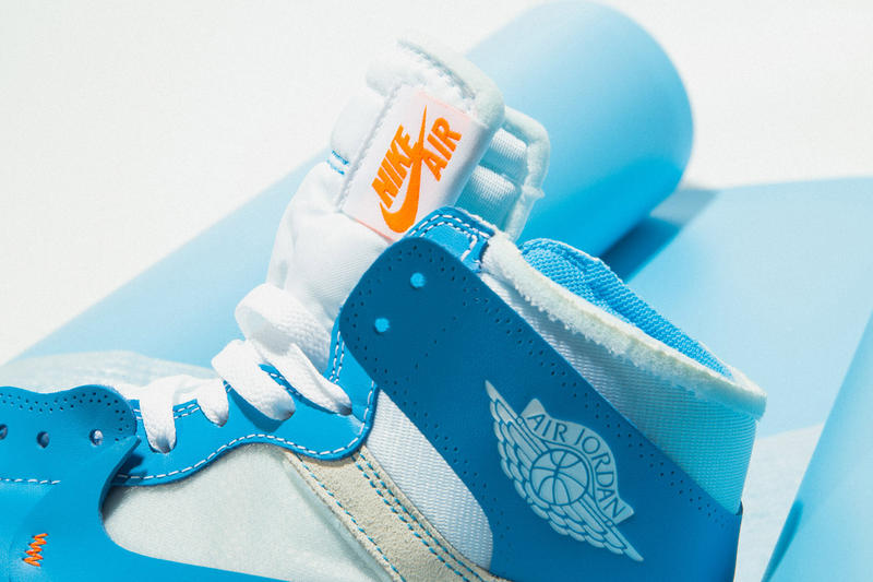 "Virgil Abloh x Nike Air Jordan 1 ""Dark Powder Blue"" Collab Collaboration New Colorway Closer Look Coming Soon U.S. Exclusive On-Foot"