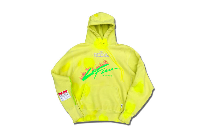 Advisory Board Crystals Custom bespoke Hoodie Reese Records swarovski holographic vinyl spray paint crystal-infused dye paracord pull strings pull tab yellow exclusve