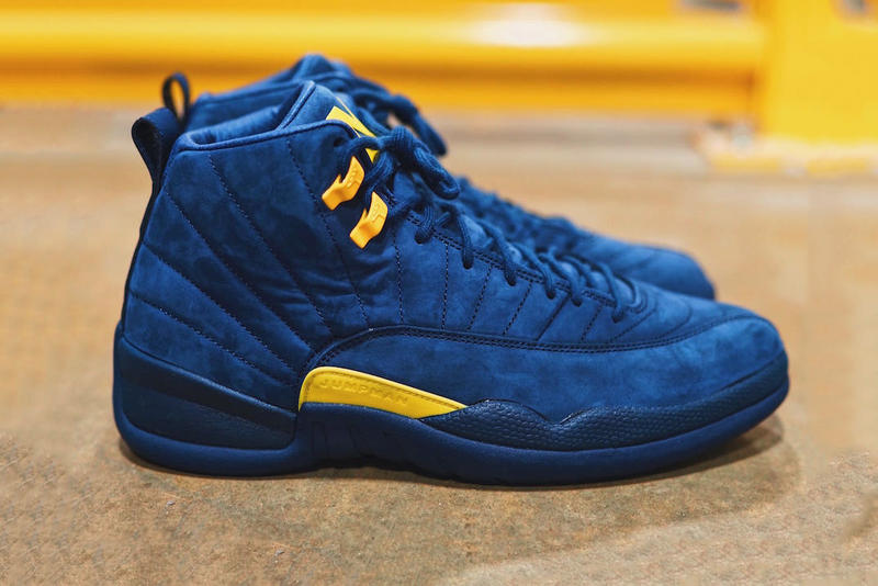 03b6cd57478c Air Jordan 12 Michigan First Look Blue Yellow Suede Navy Amarillo