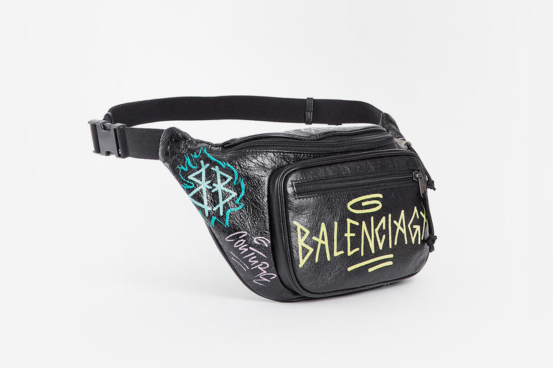 Balenciaga Fall Winter 2018 Graffiti Fanny Pack black leather accessories release info demna gvasalia