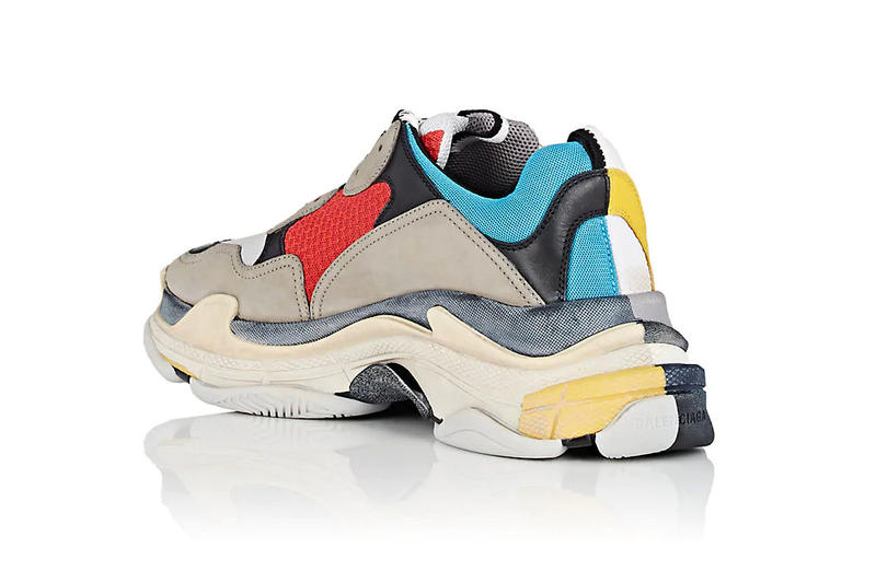 balenciaga triple s half & half 50/50 split colorways pre order spring summer 2018 fall winter red blue grey beige white yellow rear back angle