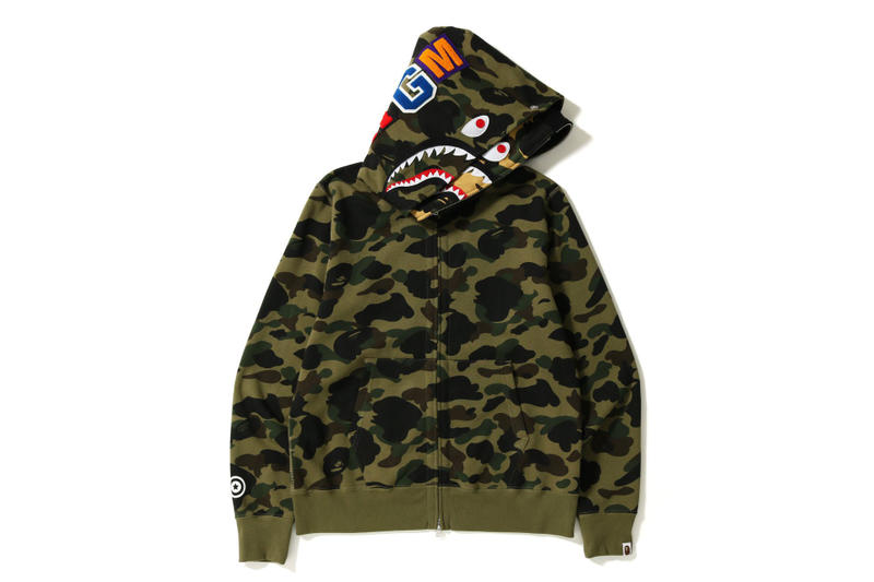 BAPE 1ST CAMO Double Shark Hoodies green yellow a bathing ape