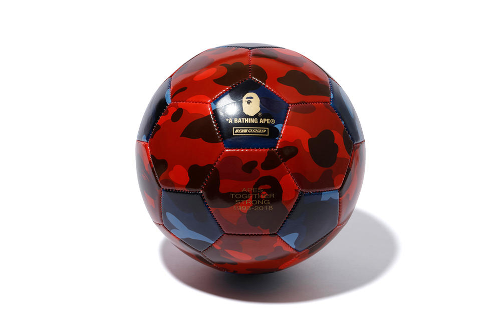 bape football soccer ball black blue red camo