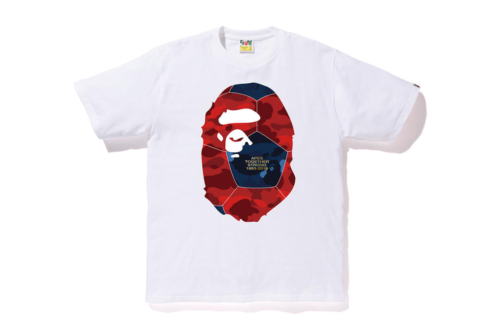 bape football soccer collection white camo tee