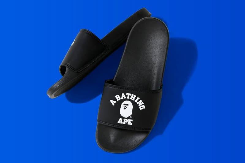 bape college slide sandals black
