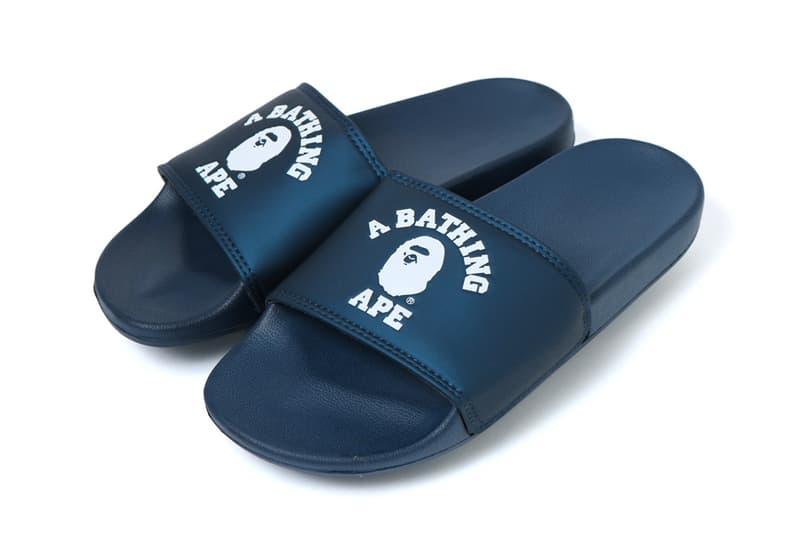 bape college slide sandals blue