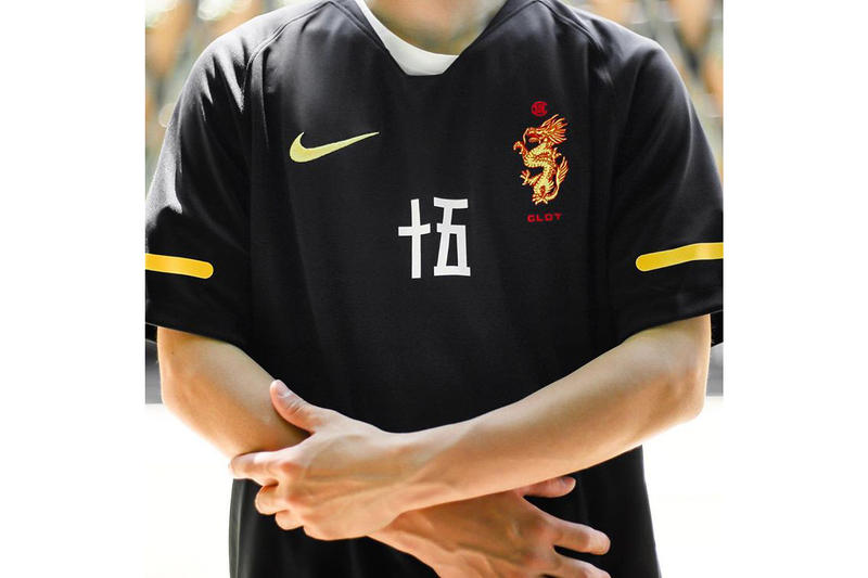 clot nike soccer football jersey shirt collaboration black yellow dragon logo chinese