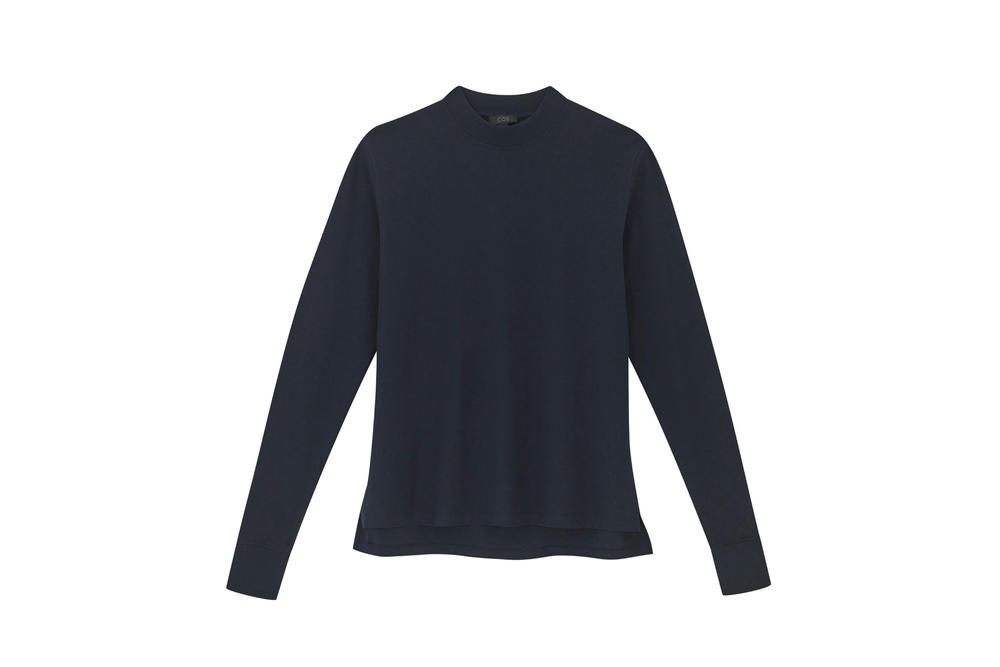 COS Soma collection navy roll neck sweater