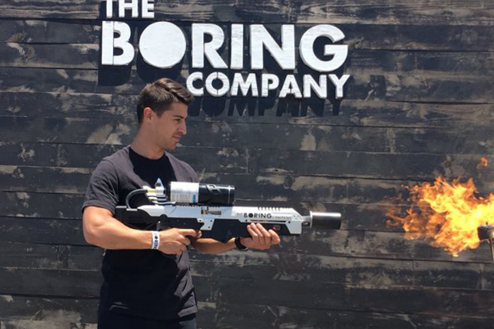 Image result for elon musk flamethrower