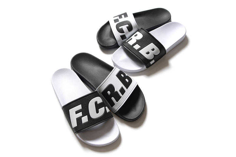 F.C.R.B. Shower Slides high contrast black white release info slippers footwear