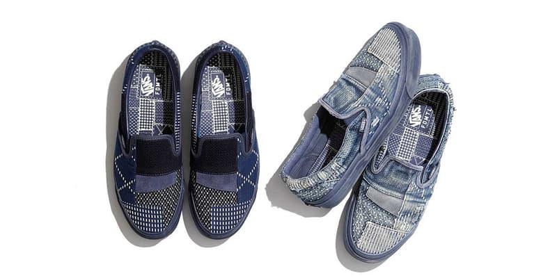 FDMTL Vans Vault Classic Slip On LX OG Authentic LX denim boro june 29 2018 release date info drop japan june 22 europe patchwork sashiko stitch wash indigo denim raw
