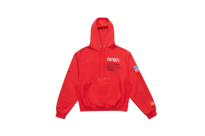 heron preston public figure fall winter 2018 collaboration pullover nasa red hoodie logo flag