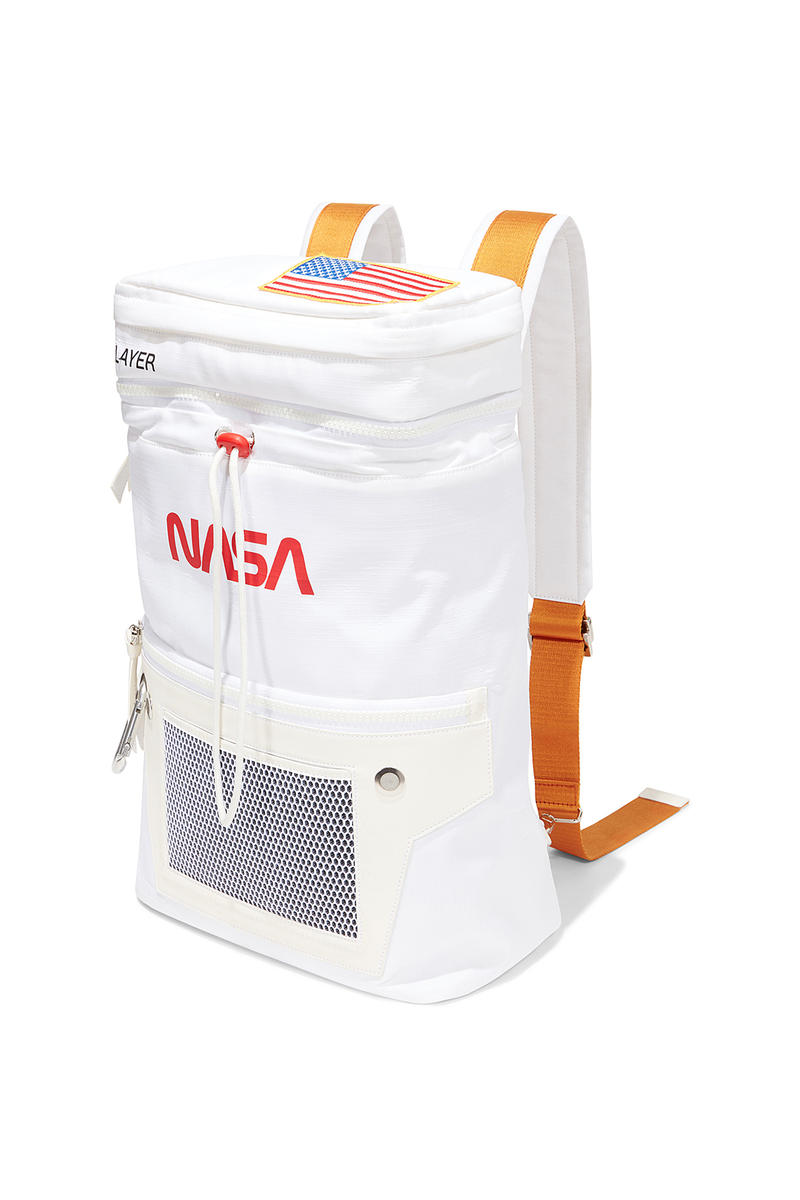 heron preston public figure fall winter 2018 collaboration nasa white backpack orange straps