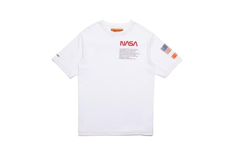 heron preston public figure fall winter 2018 collaboration nasa white tee shirt american flag logo