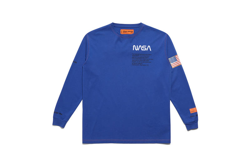 heron preston public figure fall winter 2018 collaboration nasa logo blue long sleeve tee shirt pullover american flag