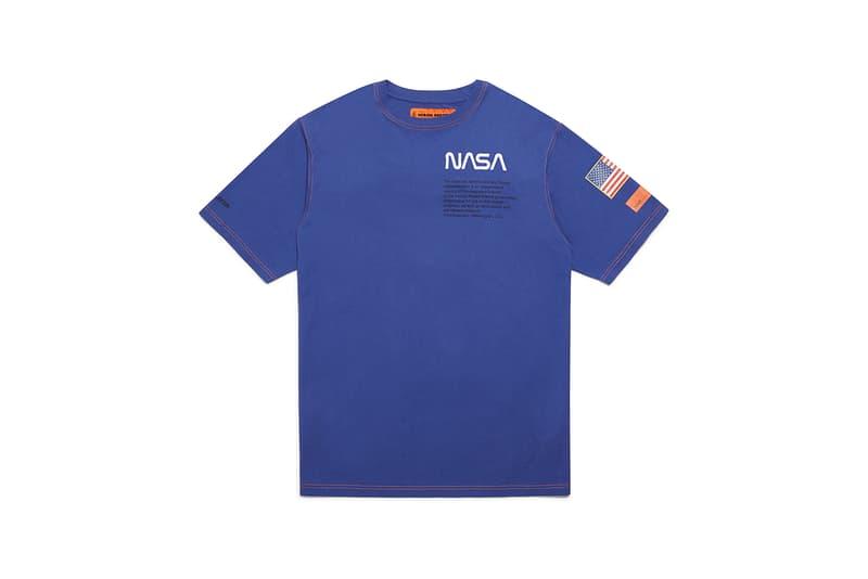 heron preston public figure fall winter 2018 collaboration nasa blue tee short sleeve shirt american flag logo