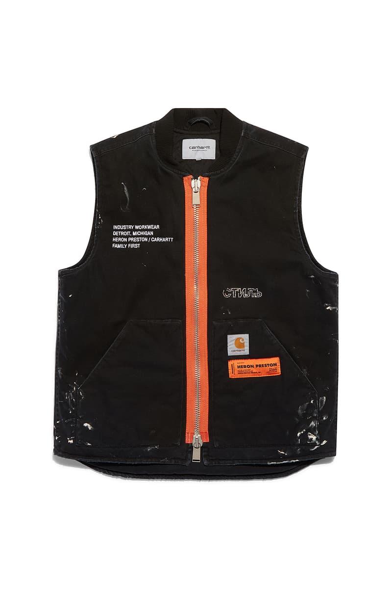heron preston public figure fall winter 2018 collaboration carhartt wip black tan zipper vest painted