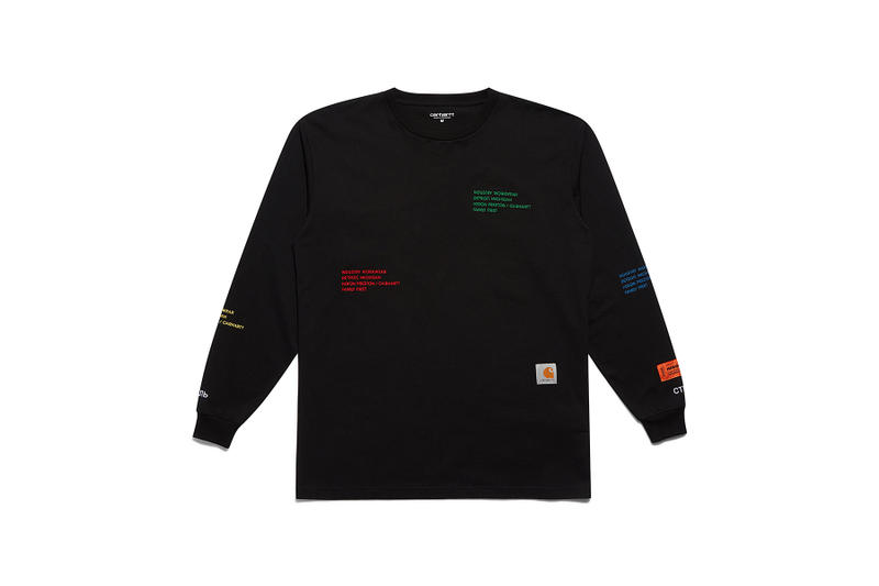 heron preston public figure fall winter 2018 collaboration carhartt wip black sweater logo