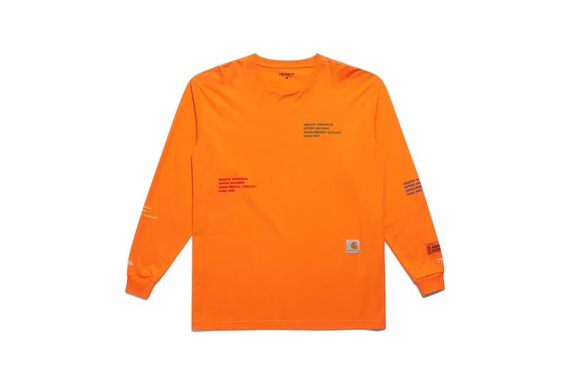 heron preston public figure fall winter 2018 collaboration carhartt wip orange sweater logo