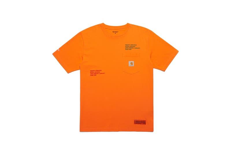 heron preston public figure fall winter 2018 collaboration carhartt wip pocket logo orange short sleeve tee shirt