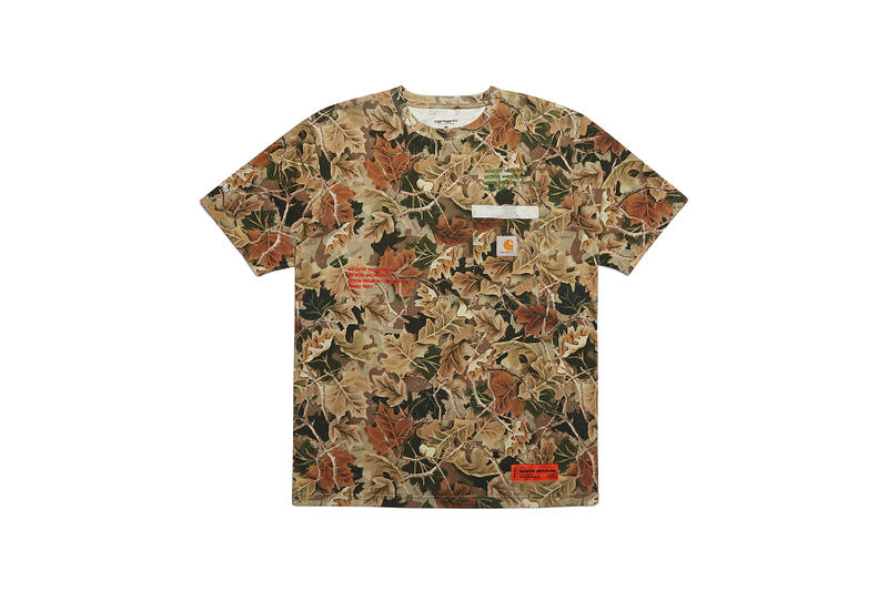 heron preston public figure fall winter 2018 collaboration carhartt wip camouflage short sleeve tee shirt brown green leaf pattern