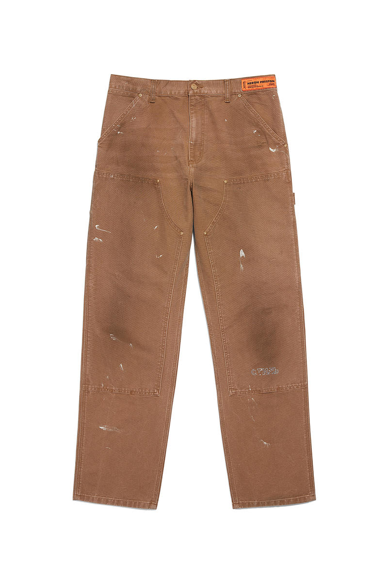 heron preston public figure fall winter 2018 collaboration carhartt wip beige paint splatter damage work pants distress