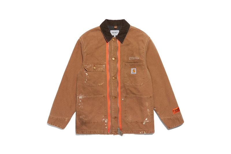 heron preston public figure fall winter 2018 collaboration carhartt wip beige chore jacket coat paint splatter damage distress brown collar orange placket