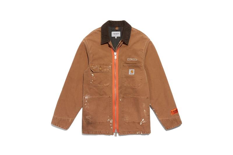 heron preston public figure fall winter 2018 collaboration carhartt wip beige zipper chore coat jacket brown collar logo placket orange