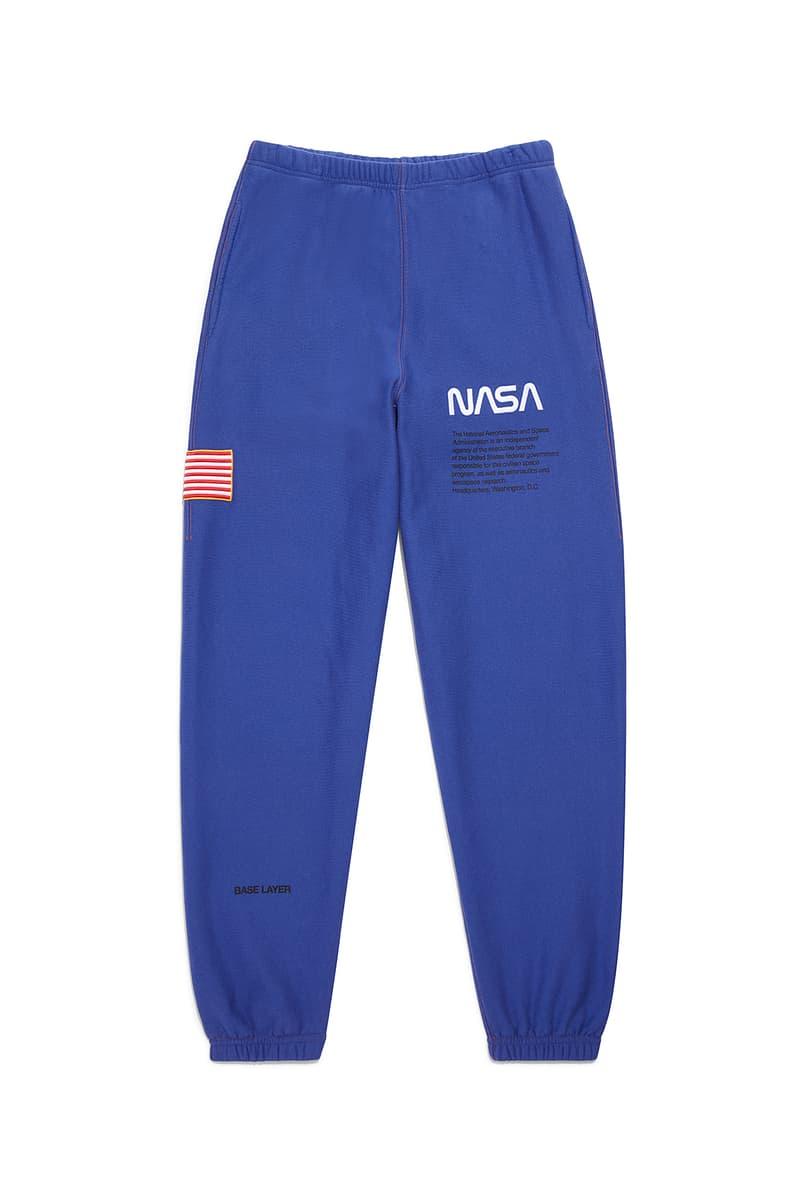 heron preston public figure fall winter 2018 collaboration nasa blue sweatpants logo american flag