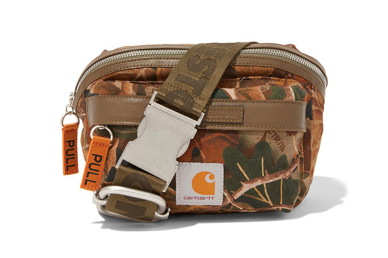heron preston public figure fall winter 2018 collaboration carhartt wip shoulder bag fanny waist pack couflage leaf brown green