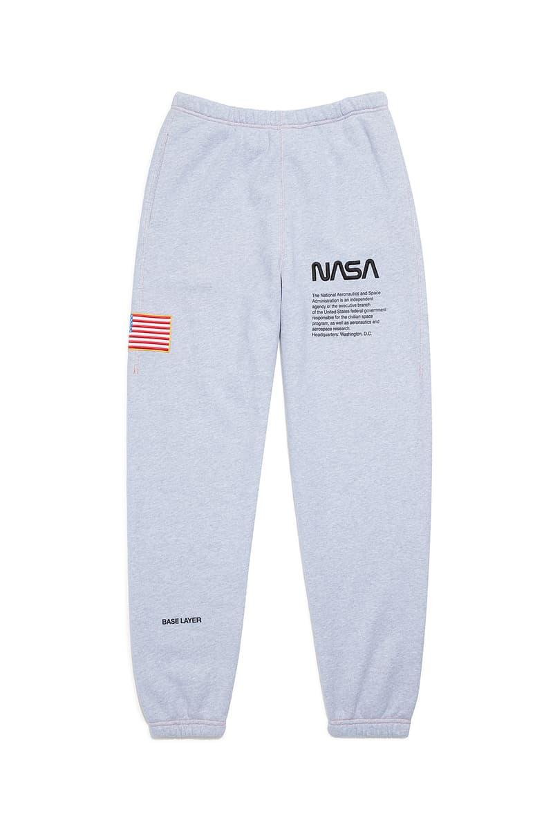heron preston public figure fall winter 2018 collaboration nasa grey sweatpants flag logo american
