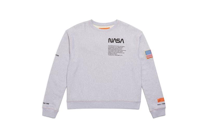 heron preston public figure fall winter 2018 collaboration grey sweater pullover logo american flag nasa