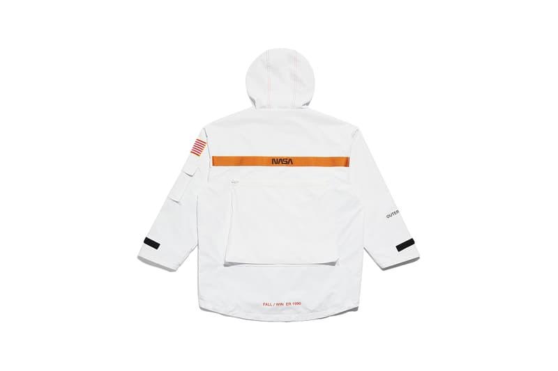 heron preston public figure fall winter 2018 collaboration parka anorak nasa white orange branding logo