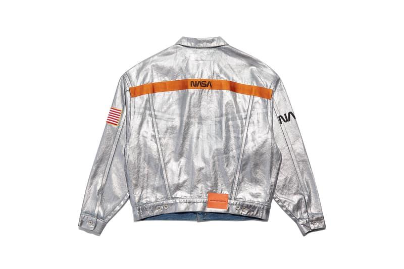 heron preston public figure fall winter 2018 collaboration nasa silver trucker jacket metallic orange branding