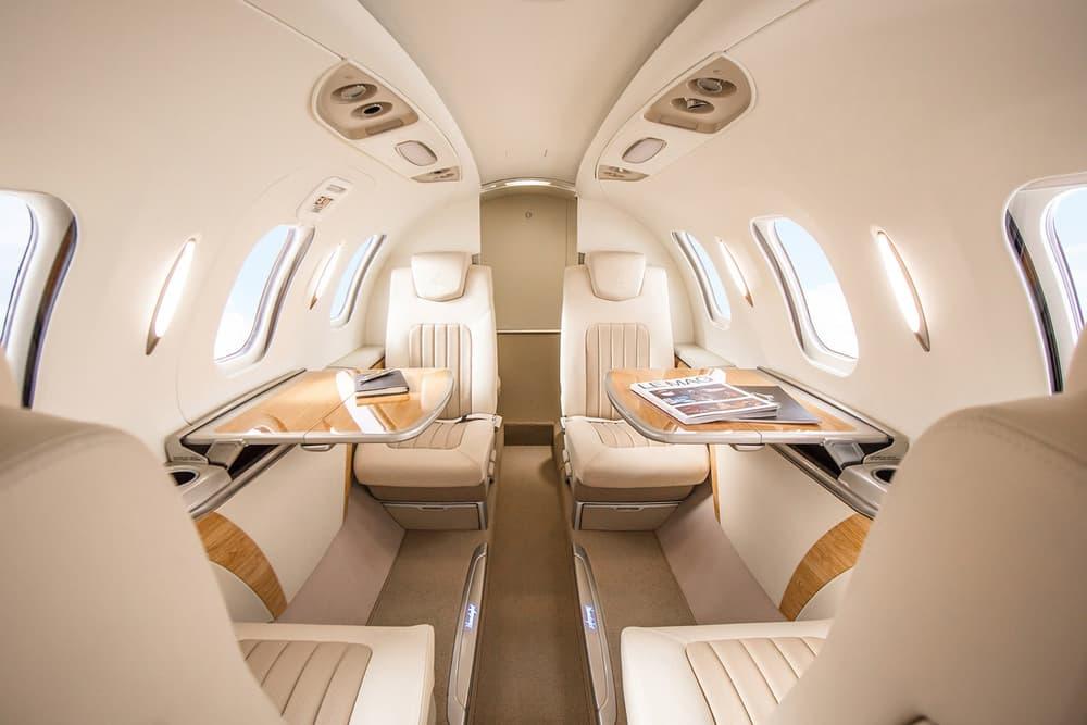 "Honda ""HondaJet Elite"" Private Jet Details 1,437 Nautical Miles 422 Knots Cruising Speed 43,000-foot Altitude Two-toned Leather Seats Speaker-less Bongiovi Sound System Garmin G3000 Avionics Suite Seven Seater Interior"