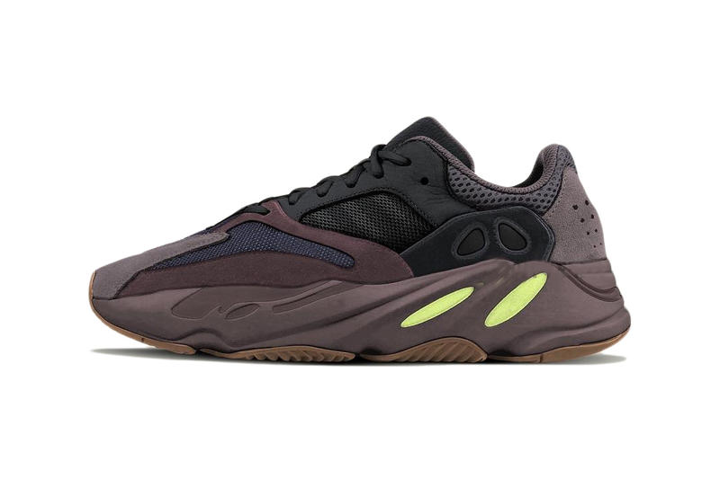 a28df3651fa adidas YEEZY BOOST 700 Wave Runner Mauve dark purple and black colorway gum  outsole neon yellow