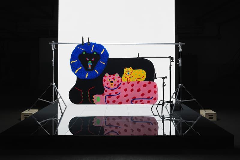 ikea art event 2019 rugs handmade limited edition misaki kawai black pink family cat lion
