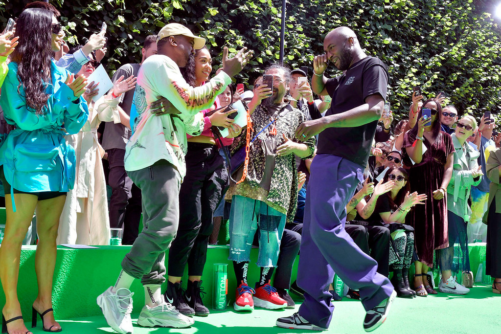 5dfd621a7995 UPDATE  Watch Kanye West   Virgil Abloh Share an Emotional Hug at Louis  Vuitton s PFW Show