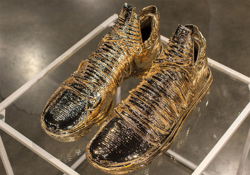 "quality design 8998f 34ee0 Kevin Durant Nike KD 10 ""Art Of A Champion"" Gold dipped NBA Golden State"