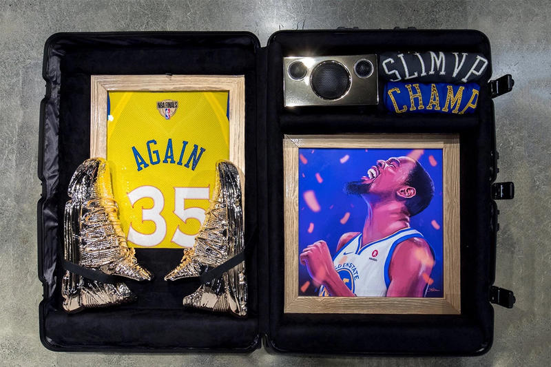 """Kevin Durant Nike KD 10 """"Art Of A Champion"""" Gold dipped NBA Golden State Warriors special suitcase alongside merchandise KD artwork 16 slash mark hangtag"""