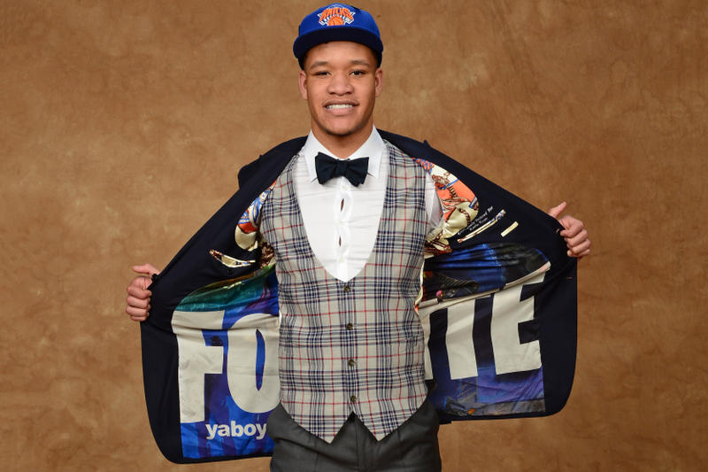 Kevin Knox Wore Fortnite Suit 2018 NBA Draft June 21 Barclays Center New York City Basketball Player Knicks Battle Royale