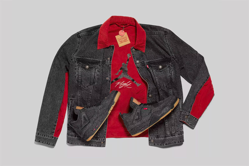 levi's jordan brand air jordan 4 black denim jacket