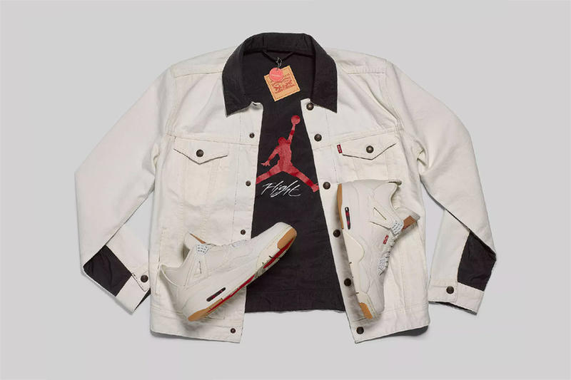 levi's jordan brand air jordan 4 white denim jacket