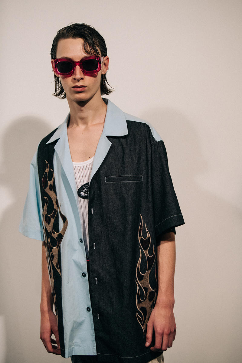 Liam Hodges Spring/Summer 2019 London Fashion Week Men's Backstage Fashion Week Fila Closer Look
